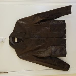 Vintage J Crew Brown Leather Car Coat. Sz 8
